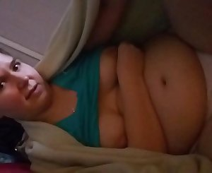 Chubby little sister in her panties talkes dirty with her brother while he playes with her.