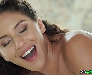 Pretty latina takes big dick up to her asshole
