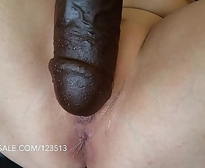 Pussy brutally fucked with thick Bam faux-cock