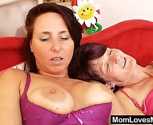 Woolly grandma toyed by big-breasted mamma sapphic